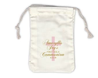 First Communion with Cross Cotton Favor Bags for Religious Ceremony in Pink and Gold - Ivory Fabric Drawstring Bags - Set of 12 (1050)