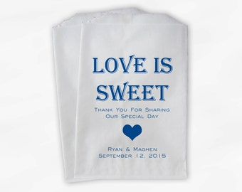 Love Is Sweet Candy Buffet Treat Bags - Personalized Wedding Favor Bags in Blue - Custom Paper Bags (0167)