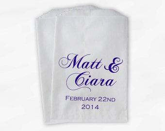 Personalized Wedding Candy Buffet Treat Bags in Purple - Favor Bags with Couple's Names and Wedding Date - Custom Paper Bags (0040)