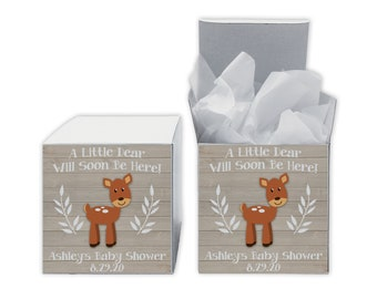 A Little Deer Baby Shower Favor Boxes in Light Ivory - Set of 12 Personalized Treat Containers with Stickers for Favors, Gifts - White Boxes