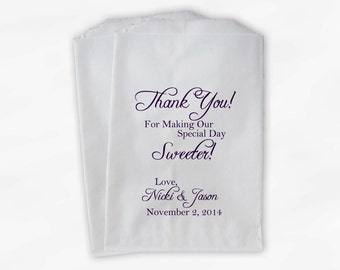Thank You for Making Our Day Sweeter Wedding Candy Buffet Treat Bags - Dark Purple Personalized Favor Bags- Custom Paper Bags (0072)