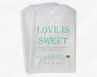 Love Is Sweet Wedding Candy Buffet Treat Bags - Mr and Mrs Personalized Favor Bags in Mint and Gold - Custom Paper Bags (0069)
