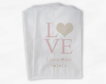 Personalized Candy Buffet Bags - Love and Hearts Custom Favor Bags for Wedding in Champagne and Blush - Paper Treat Bags (0015-10)