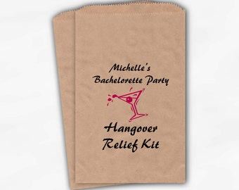 Bachelorette Party Favor Bags - Hangover Relief Martini Custom Kraft Paper Favor Bags in Hot Pink and Black - 25 Paper Treat Bags (0020)