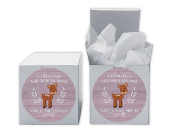 A Little Deer Baby Shower Favor Boxes in Light Pink - Set of 12 Personalized Treat Containers with Round Stickers - White Boxes