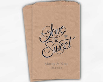 Love Is Sweet Calligraphy Wedding Candy Buffet Treat Bags - Personalized Favor Bags in Navy and Light Blue - Custom Kraft Paper Bags (0122)