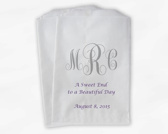 Monogrammed Candy Buffet Bags - Sweet End Custom Favor Bags Personalized Couple's Initials and Date - Paper Treat Bags (0037)