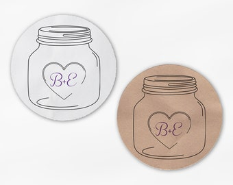Mason Jar Initials in Heart Wedding Favor Stickers in Black & Dark Purple - White Or Kraft Round Labels for Envelopes, Canning Jars (2027)