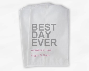 Best Day Ever Wedding Candy Buffet Treat Bags - Pink and Gray Personalized Favor Bags with Names and Wedding Date - Paper Bags (0064)