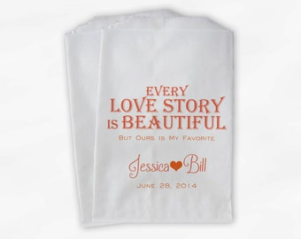 Every Love Story Is Beautiful Wedding Candy Buffet Treat Bags - Personalized Favor Bags in Peach and Orange - Custom Paper Bags (0070)