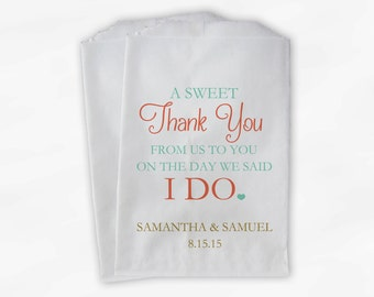 Wedding Candy Buffet Treat Bags - A Sweet Thank You Coral and Mint Personalized Favor Bags with Bride and Groom's Names and Date (0085)
