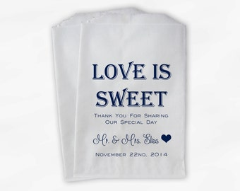 Love Is Sweet Mr and Mrs Wedding Candy Buffet Treat Bags - Personalized Favor Bags in Navy Blue - Custom Paper Bags (0069)