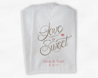 Love Is Sweet Calligraphy Wedding Candy Buffet Treat Bags - Personalized Favor Bags in Champagne and Blush - Custom Paper Bags (0122)