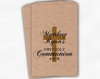First Communion Favor Bags - Personalized Baptism or Religious Party Custom Favor Bags - Set of 25 Black and Gold Kraft Paper Treat Bags