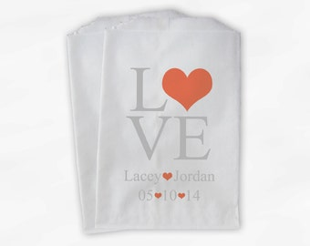 Personalized Candy Buffet Bags - Love and Hearts Custom Favor Bags for Wedding in Gray and Coral - Paper Treat Bags (0015-9)