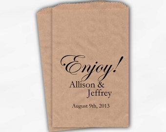 Enjoy Wedding Candy Buffet Treat Bags - Black Personalized Kraft Favor Bags with Names and Date - Custom Paper Bags (0026-7)
