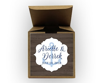 Nautical Wedding Favor Boxes - Set of 12 Personalized Treat Containers with Anchor Stickers for Party Favors, Gifts - Kraft Tuck Top Boxes