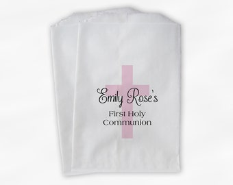 First Communion Favor Bags with Cross - Personalized Baptism or Religious Party Custom Favor Bags - Set of 25 Pink & Black Paper Treat Bags