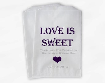 Love Is Sweet Candy Buffet Treat Bags - Personalized Bridal Shower Favor Bags in Dark Purple and Gray - Set of 25 Custom Paper Bags (0167)