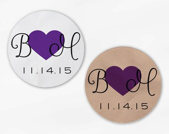 Initials and Heart Wedding Favor Stickers - Purple Custom Candy Buffet White, Kraft Round Labels for Bag Seals, Envelopes (2021)