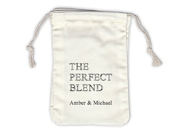 The Perfect Blend Sketch Personalized Cotton Bags for Coffee, Tea Wedding Favors in Black - Ivory Fabric Drawstring Bags - Set of 12 (1024)
