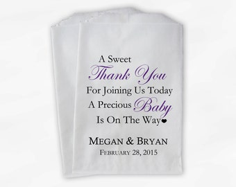 Sweet Thank You Baby Shower Candy Buffet Treat Bags - Set of 25 Purple Personalized Favor Bags (0108)