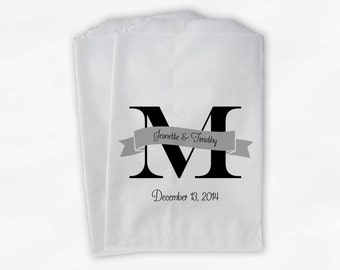 Monogram and Banner Candy Buffet Bags Black and Gray - Personalized Initial Custom Favor Bags - Paper Treat Bags (0115)