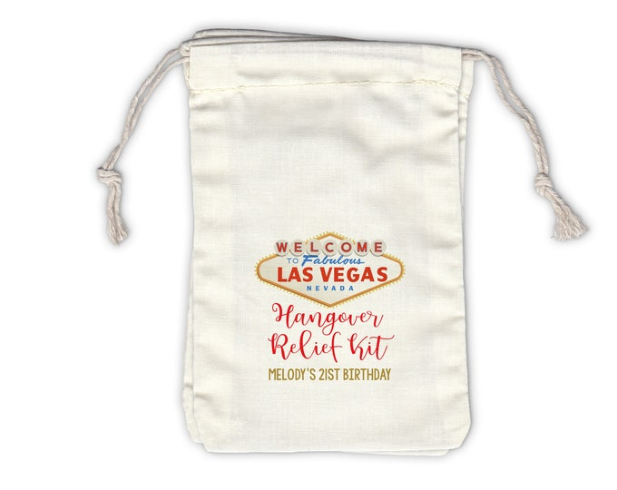 Featured listing image: Las Vegas Hangover Relief Kit Personalized Cotton Bags for Birthday, Bachelorette Party - Ivory Fabric Drawstring Bags - Set of 12 (1048)