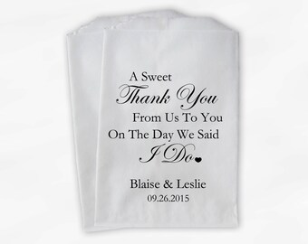 Sweet Thank You Wedding Candy Buffet Treat Bags - Black Personalized Favor Bags with Couple's Names and Wedding Date (0054-6)