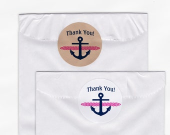 Anchor, Rope Nautical Wedding Favor Stickers - Custom Thank You White Or Kraft Round Labels for Bag Seals, Envelopes - Pink & Navy (2003)