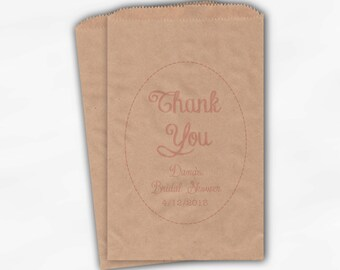 Thank You Personalized Candy Treat Bags - Light Pink Custom Favor Bags for Bridal Shower Shower - 25 Paper Bags (0001)