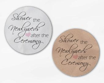 Shower the Newlyweds Wedding Favor Stickers - Blush Pink Custom White Or Kraft Round Labels for Bag Seals, Envelopes (2026)