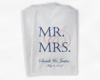 Mr & Mrs Candy Buffet Bags - Personalized Wedding Favor Bags - Navy and Blush Pink Paper Treat Bags (0163)