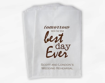 Best Day Ever Wedding Candy Buffet Treat Bags - Brown Personalized Rehearsal Favor Bags with Couple's Names - Custom Paper Bags (0028)