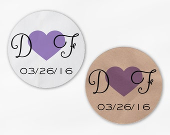 Initials and Heart Wedding Favor Stickers - Lavender Custom Candy Buffet White, Kraft Round Labels for Bag Seals, Envelopes (2021)