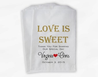 Love Is Sweet Wedding Candy Buffet Treat Bags - Personalized Favor Bags in Gold Black and Red - Custom Paper Bags (0069)