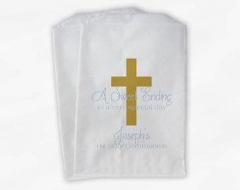 First Communion Favor Bags - Baptism or Religious Party Custom Favor Bags - Gold and Baby Blue Paper Treat Bags - Set of 25 Bags (0073)