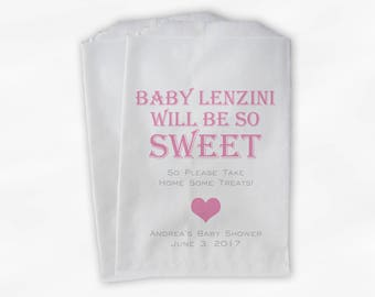 Baby Is Sweet Candy Buffet Treat Bags - Personalized Baby Shower Favor Bags in Pink - 25 Custom Paper Bags (0148)