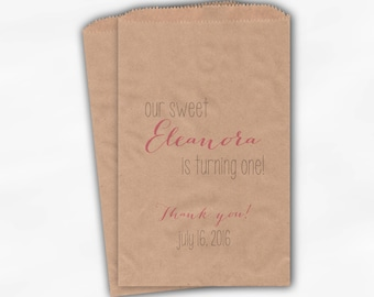 Sweet Girl Turning One Birthday Party Candy Buffet Treat Bags - Set of 25 Light Pink Personalized Kraft Paper Favor Bags (0213)