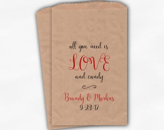 Love and Candy Wedding Candy Buffet Treat Bags - Personalized Calligraphy Favor Bags in Black and Red - Custom Kraft Paper Bags (0197)