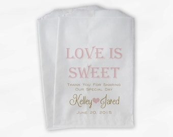 Love Is Sweet Wedding Candy Buffet Treat Bags - Personalized Favor Bags in Light Pink and Gold - Custom Paper Bags (0069)