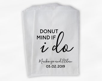 Donut Mind If I Do Wedding Treat Bags - Personalized Doughnut Buffet Paper Favor Bags in Black and White - Set of 25 Bags