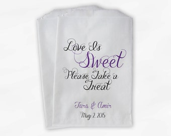 Love Is Sweet Take a Treat Personalized Wedding Candy Buffet Treat Bags - Favor Bags in Purple and Black - Custom Paper Bags (0101)
