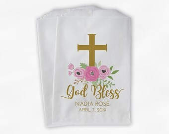 God Bless Flower Favor Bags - First Communion, Baptism or Religious Party Custom Favor Bags - Set of 25 Gold and Pink Paper Treat Bags