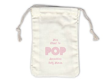 She's About to Pop Baby Shower Personalized Cotton Bags for Favors in Light Pink - Ivory Fabric Drawstring Bags - Set of 12 (1017)