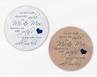 Shower the Mr and Mrs Wedding Favor Petal Toss Stickers - Navy Blue Custom White Or Kraft Round Labels for Bag Seals, Envelopes (2032)