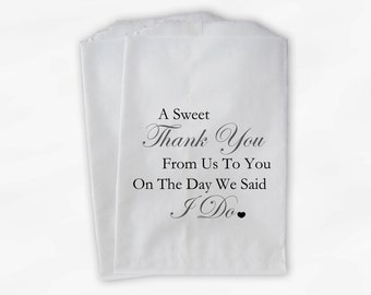 Sweet Thank You Wedding Candy Buffet Treat Bags - Charcoal Gray Custom Favor Bags (0054)