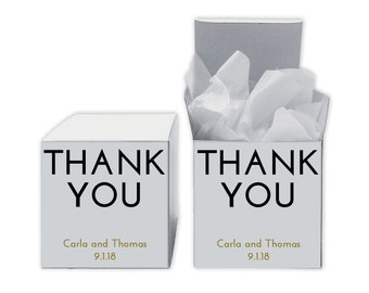 Thank You Favor Boxes in Black and Gold - Set of 12 Personalized Treat Containers with Stickers for Favors, Gifts - White Boxes