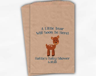 Little Dear Will Soon Be Here Baby Shower Favor Bags - Baby Deer Boy or Girl Custom Treat Bags for Baby Shower - 25 Kraft Paper Bags (0215)