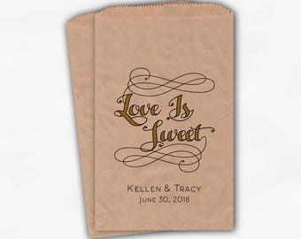 Love is Sweet Favor Bags in Black and Gold - Personalized Calligraphy Favor Bags - Set of 25 Kraft Paper Treat Bags (0211)